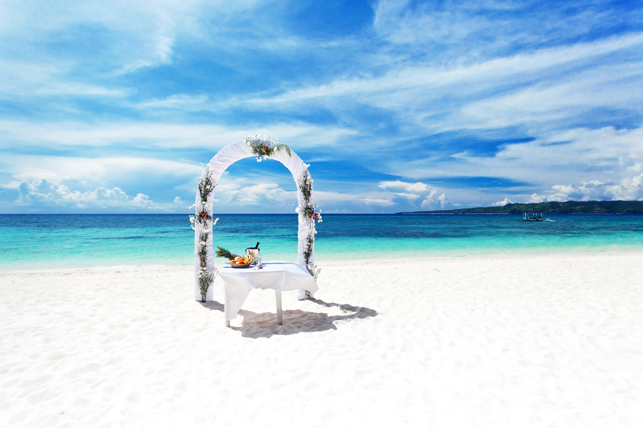 Wedding arch on beautiful beach